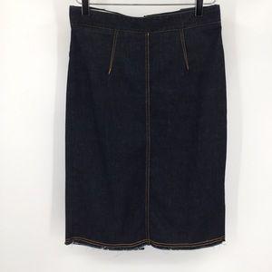 Fiorucci denim skirt jean blue raw hem straight 29
